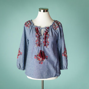 THML S Chambray Embroidered Tie Neck Top